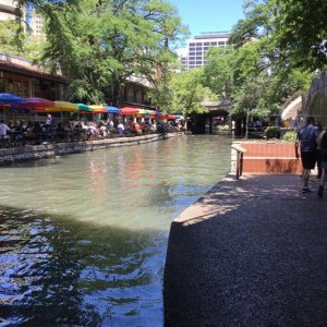 River Walk - San Antonio TX. The colorful umbrellas is the oldest restaurant on the walk - great Mexican joint!